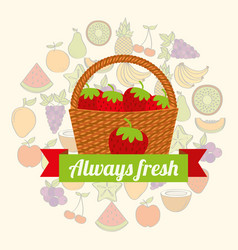 label wicker basket with always fresh strawberry vector image