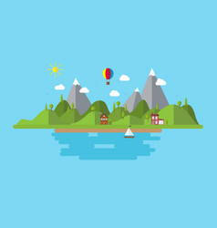 landscape with house boat and hills coast scenery vector image