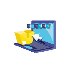 laptop computer with box and parasol vector image