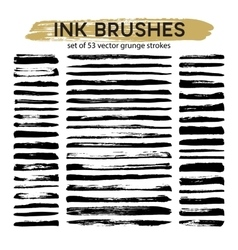 Large set of 53 different grunge ink brush strokes vector