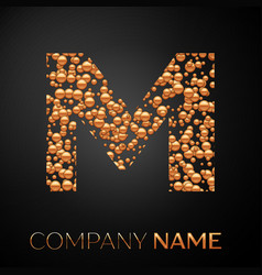 letter m logo gold dots alphabet logotype vector image