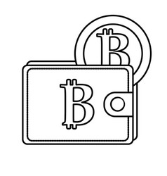 line bitcoin symbon in the wallet with coin money vector image vector image