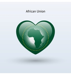 Love african union symbol heart flag icon vector
