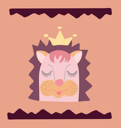 lovely hedgehog in a crown and a hand-drawn wavy vector image