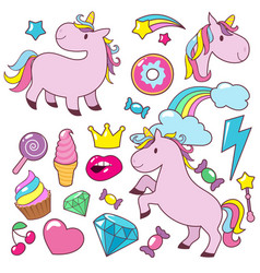 Magic cute unicorns baby horses character vector