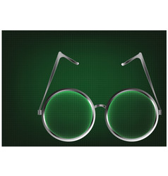 Metal glasses on a green vector
