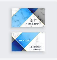 Modern blue marble texture business card design vector