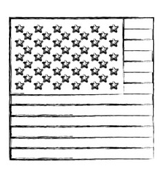 Monochrome sketch of flag the united states in vector