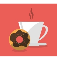 Mug and donut of fast food concept vector