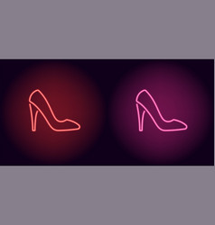 neon women shoe in red and pink color vector image