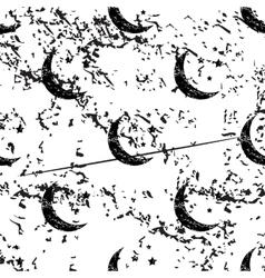 Night moon pattern grunge monochrome vector