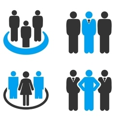 People groups flat bicolor icons vector