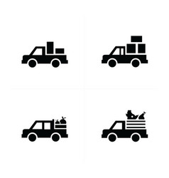 pickup truck and transport icons vector image