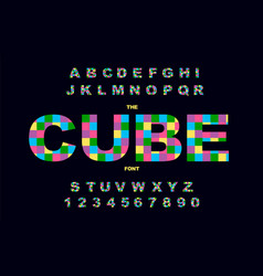 pixel retro video game font 80 s retro alphabet vector image