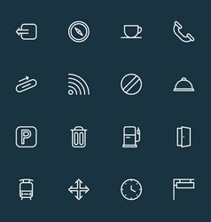 Public icons line style set with navigation vector
