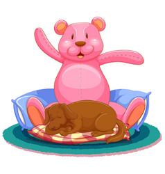 scene with dog sleeping with big teddy bear vector image