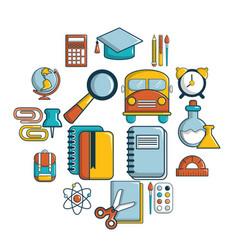school education icons set cartoon style vector image