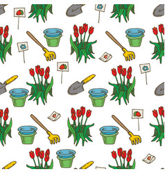seamless pattern garden tools and red tulips vector image