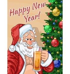 Selfie of Santa Claus with beer vector