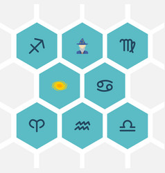 Set of astronomy icons flat style symbols with vector