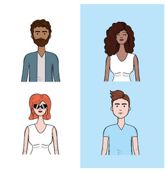 Set people face with hairstyle and expression vector