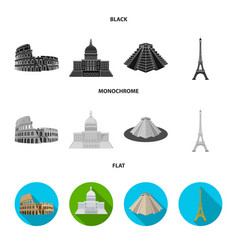 Sights of different countries black flat vector