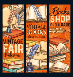 Sketch banners old vintage books shoop vector