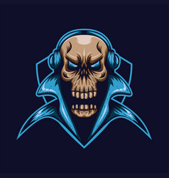 skull gaming shield vector image