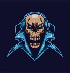Skull gaming shield vector
