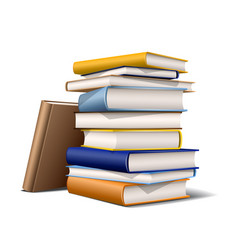 stack blue and yellow books books various vector image