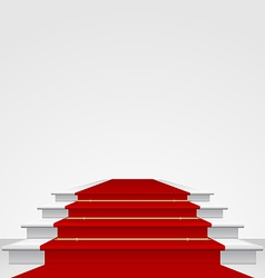 Stairs covered with red carpet isolated vector