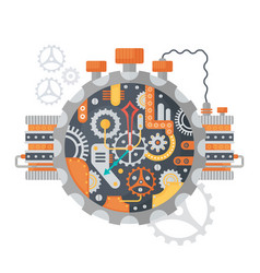 steampunk vintage cogs and clock face of watches vector image