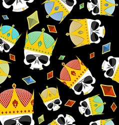 Street Kings Gold Crown skull seamless pattern vector