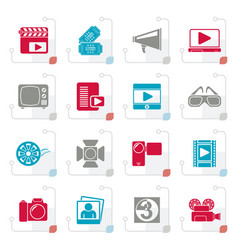 stylized movie and cinema icons vector image