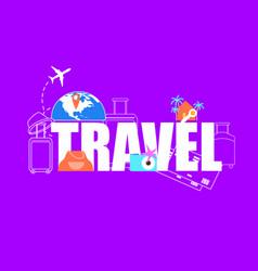 summer vacation travel flight flat concept vector image