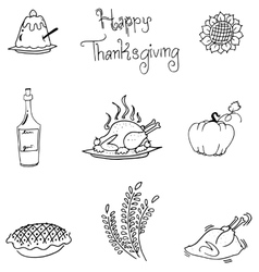 Thanksgiving in doodle food art vector