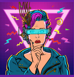 thinker vr glasses woman gamer virtual reality vector image