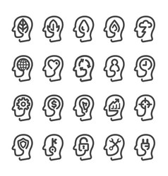 Thinking head line icon vector