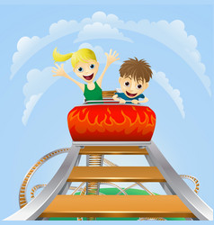 Thrilling roller coaster ride vector
