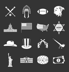 usa icons set grey vector image