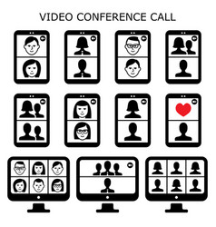 video conference call icons set online vector image