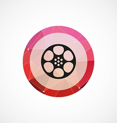 Video film circle pink triangle background icon vector