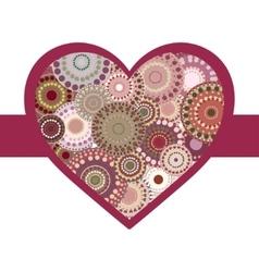 Vintage bright colorful heart crimson ribbon vector