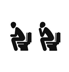 Wc funny symbol man sitting on toilet vector