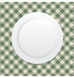 White plate on green tablecloth vector