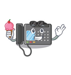 With ice cream fax machine in character shape vector