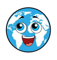 world planet comic character vector image