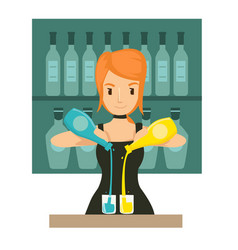 young girl bartender mixing cocktail in th bar vector image