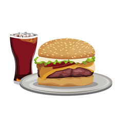 fast food burger cheese sauce and soda with ice vector image vector image