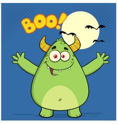 happy horned green monster vector image vector image
